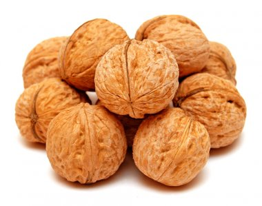Dry walnuts in shells