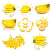 Photo Collection of bananas bunches and slices