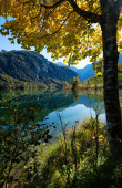 Photo Peaceful autumn Alps mountain lake with clear transparent water