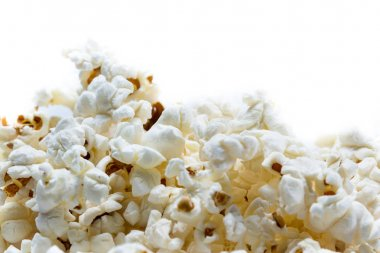 Close up of a bunch of popcorn on a white background stock vector