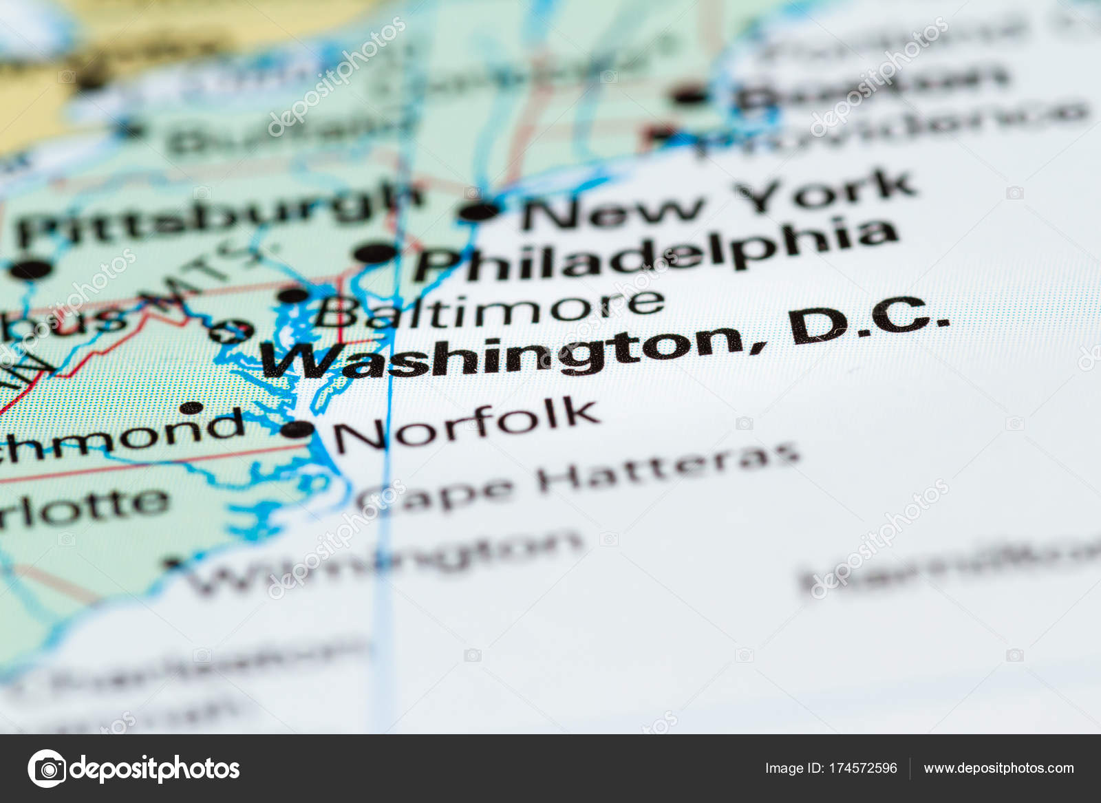 Washington DC on a map Stock Photo wollertz 174572596