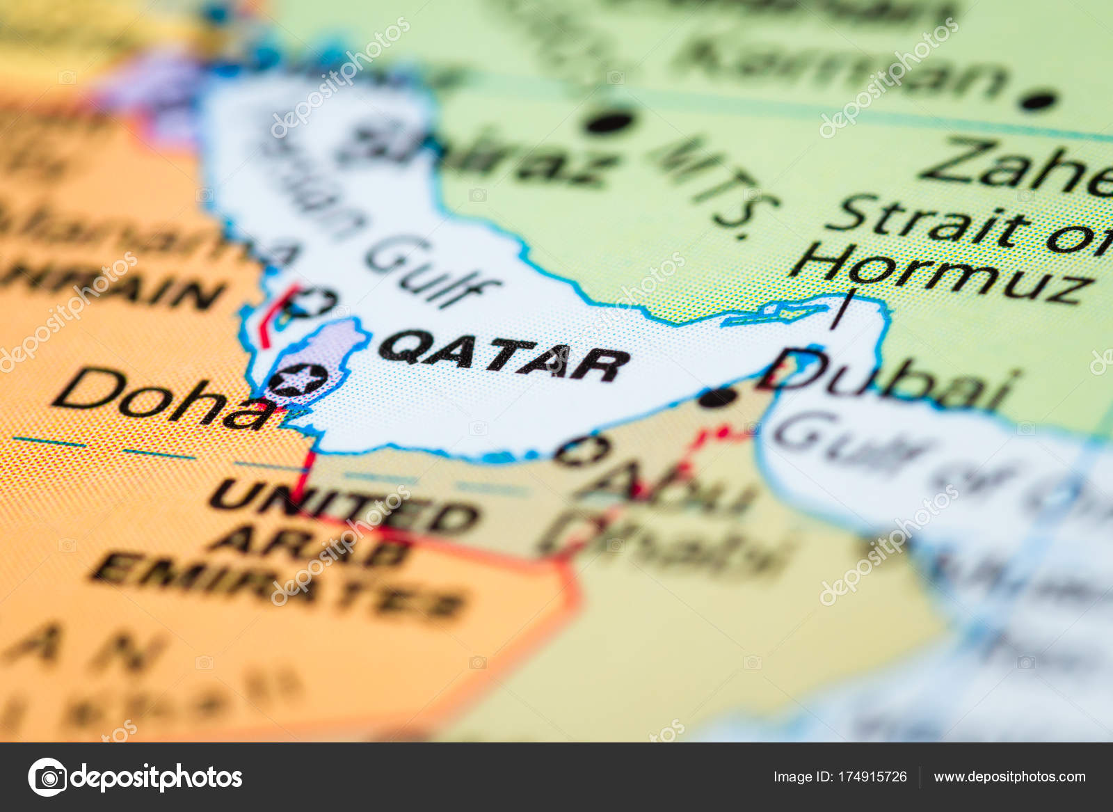 Qatar Dubai Carte.Qatar Sur Une Carte Photographie Wollertz C 174915726