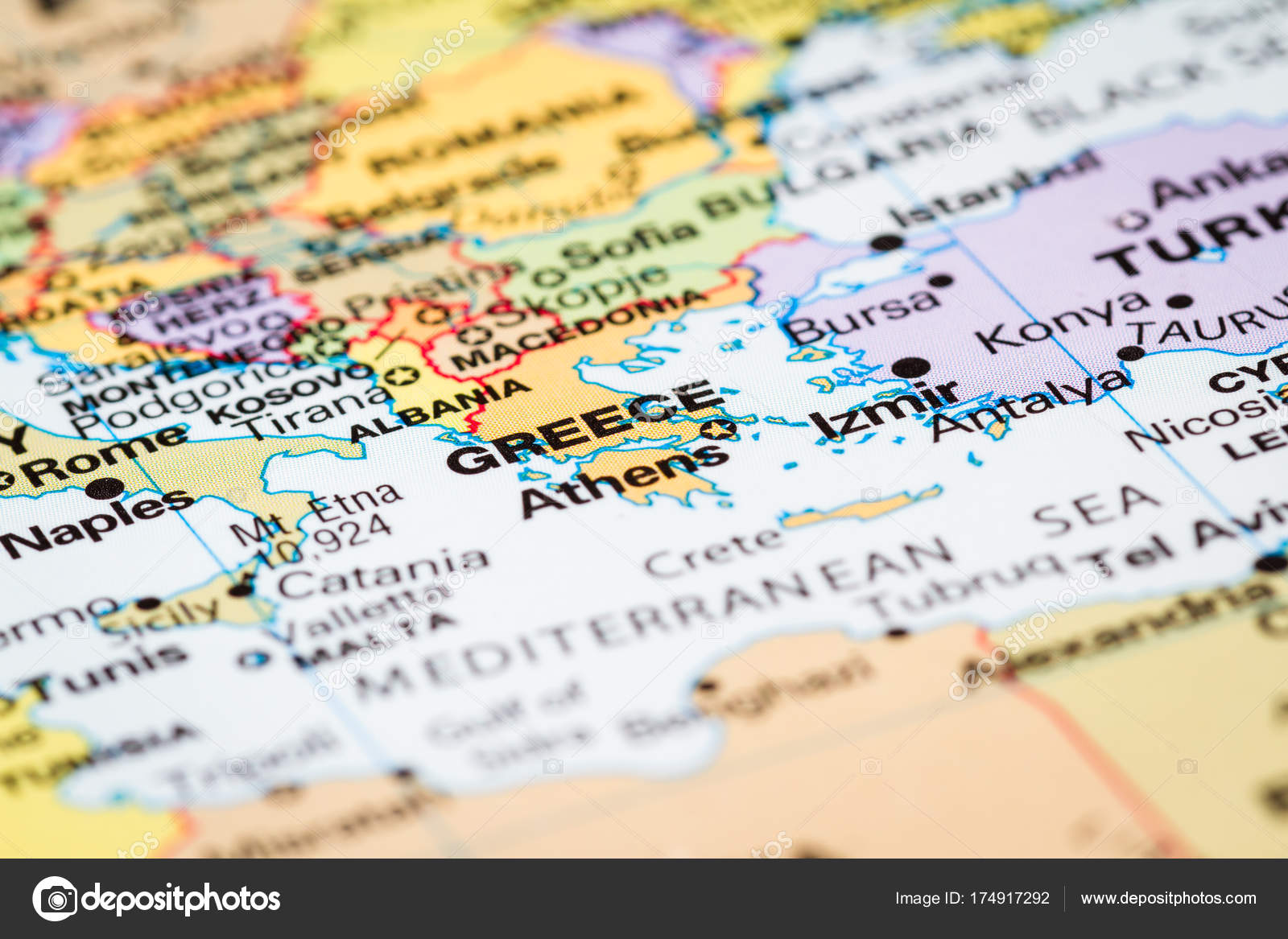 Athens greece on a map stock photo wollertz 174917292 close up of a world map with greece in focus photo by wollertz gumiabroncs Choice Image