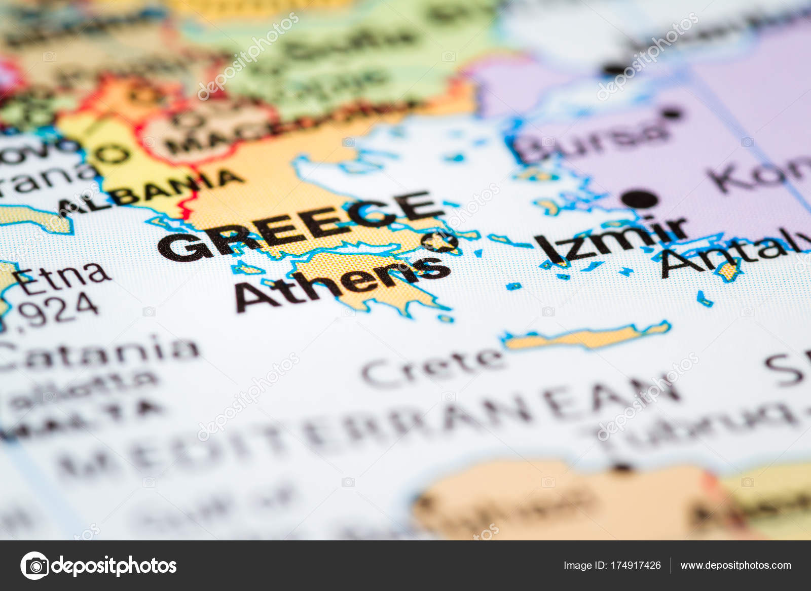 Athens greece on a map stock photo wollertz 174917426 close up of a world map with greece in focus photo by wollertz gumiabroncs Choice Image