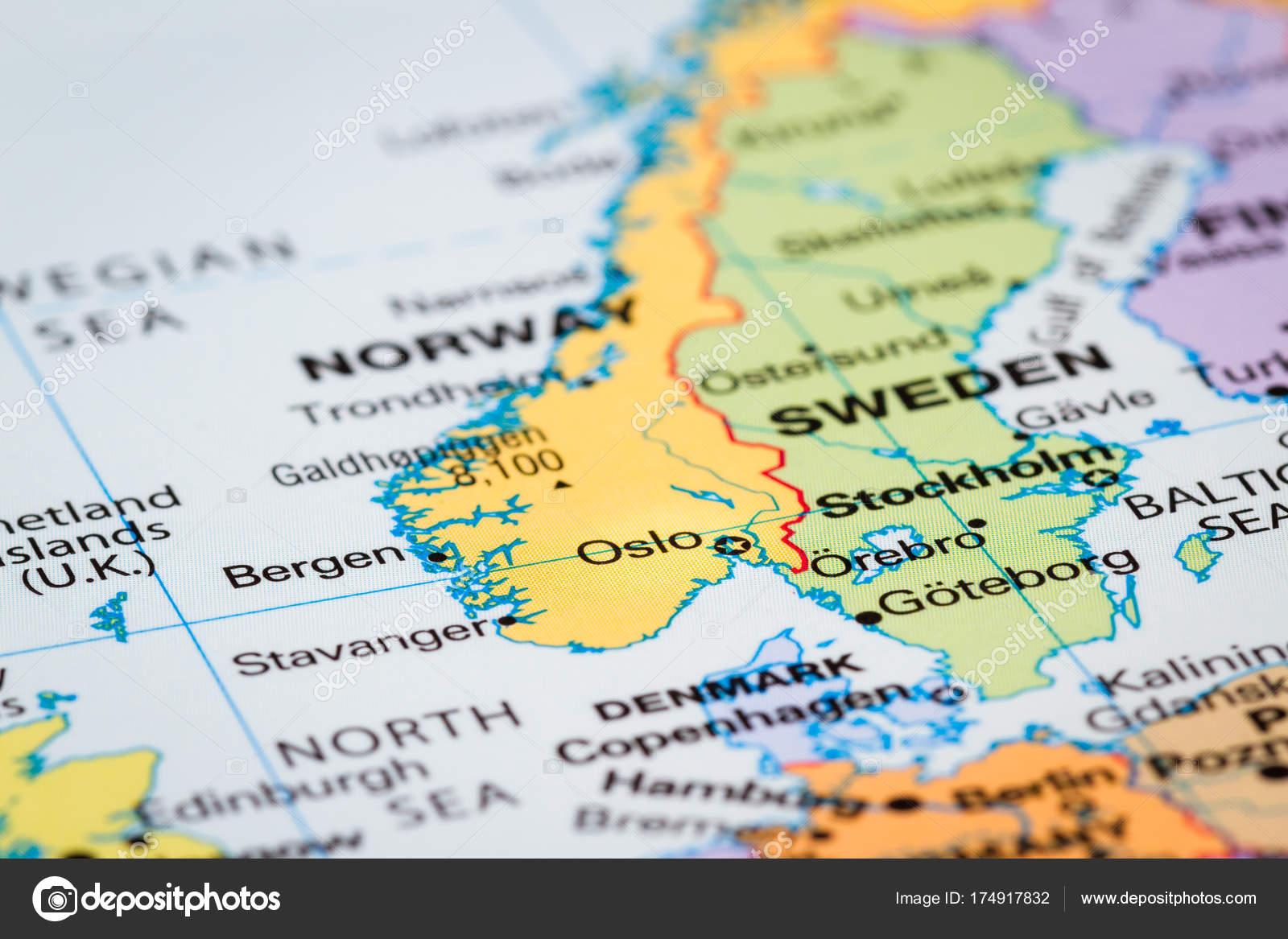 Scandinavia on a map — Stock Photo © wollertz #174917832