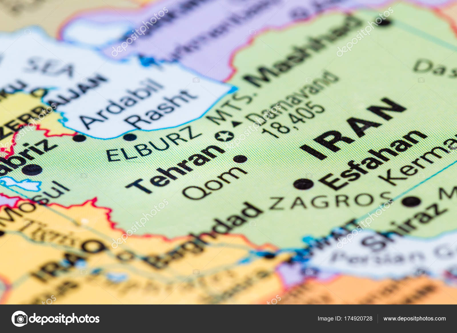 close up of a world map with tehran iran in focus photo by wollertz