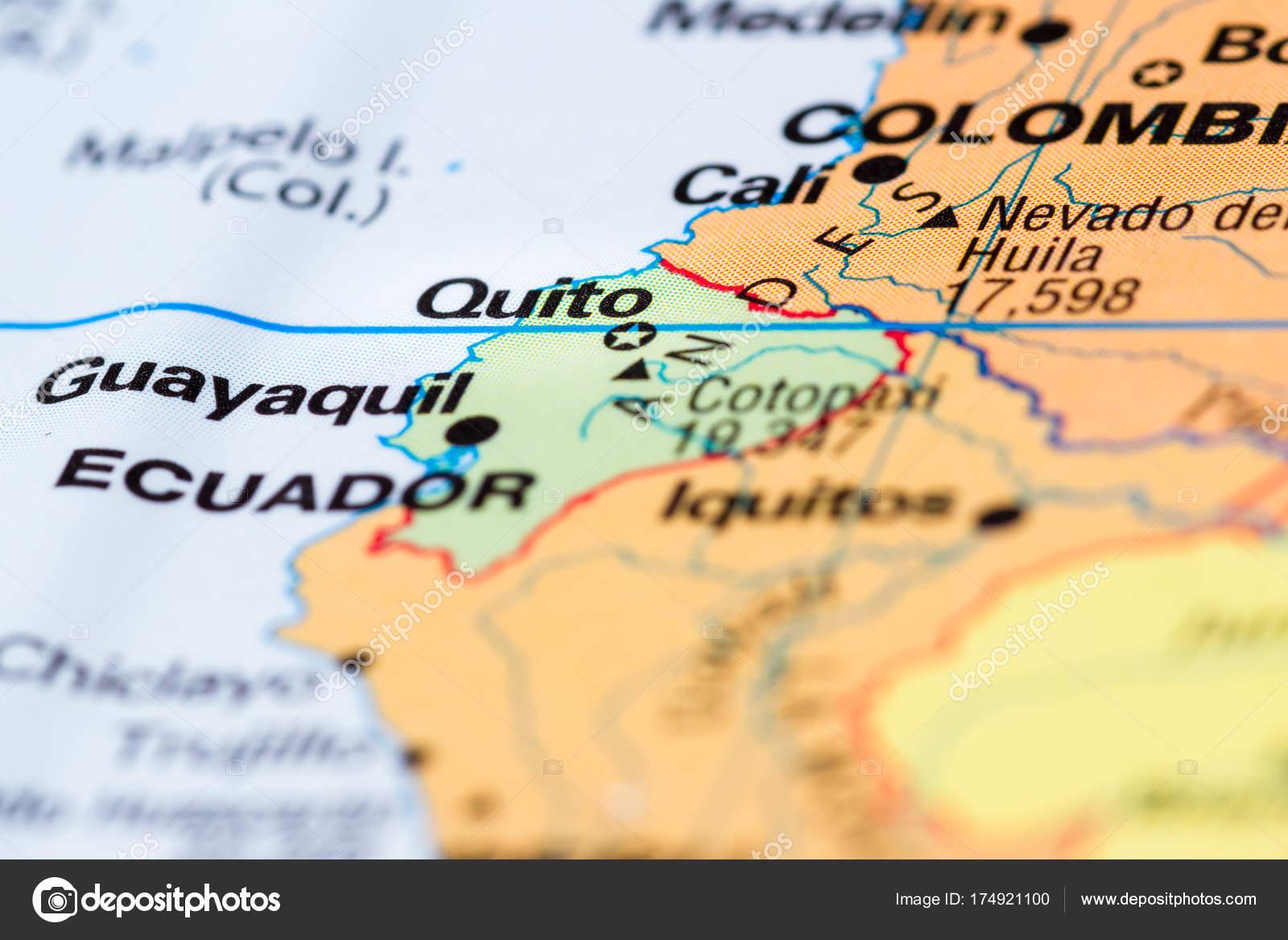Quito ecuador en un mapa fotos de stock wollertz 174921100 cerca de un mapa del mundo con la ciudad de quito en foco foto de wollertz gumiabroncs Image collections