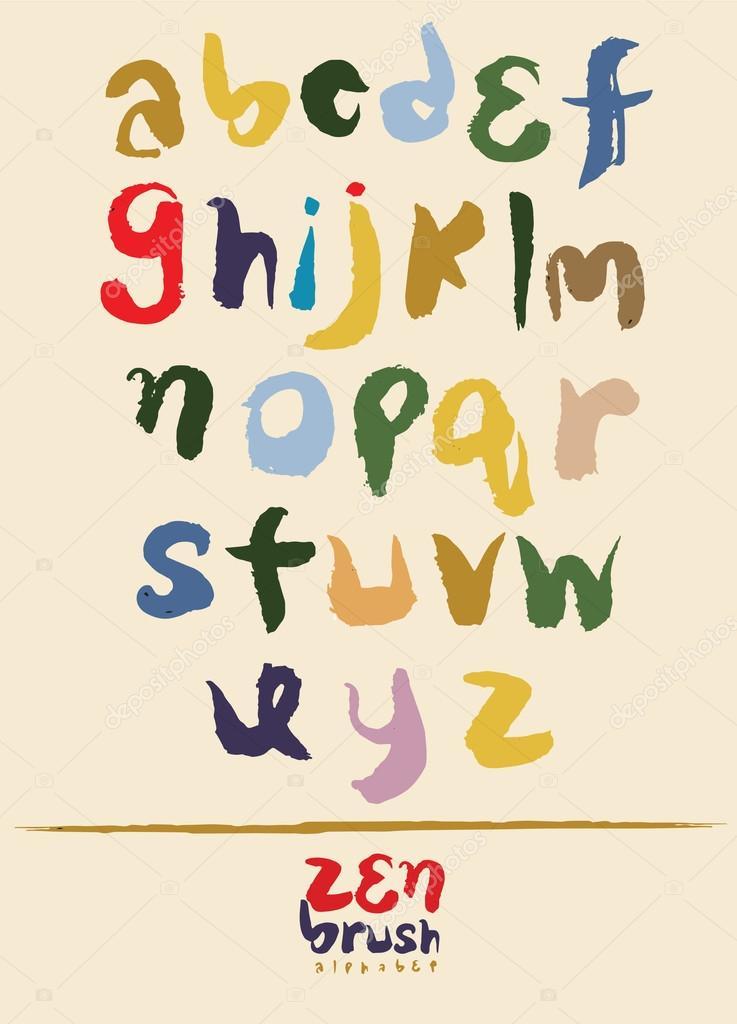 Zen Calligraphic Brush Font Handwritten Script Alphabet Stock