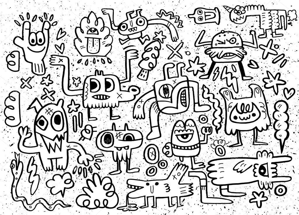 Monstruos y extranjero lindo amable, colección de monstruos ...
