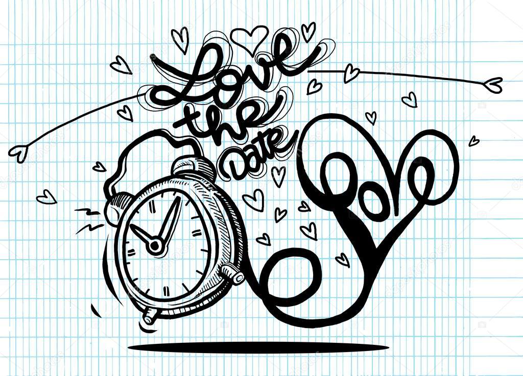 Reloj De Dibujos Animados Vector Con Corazones. Tarjeta De