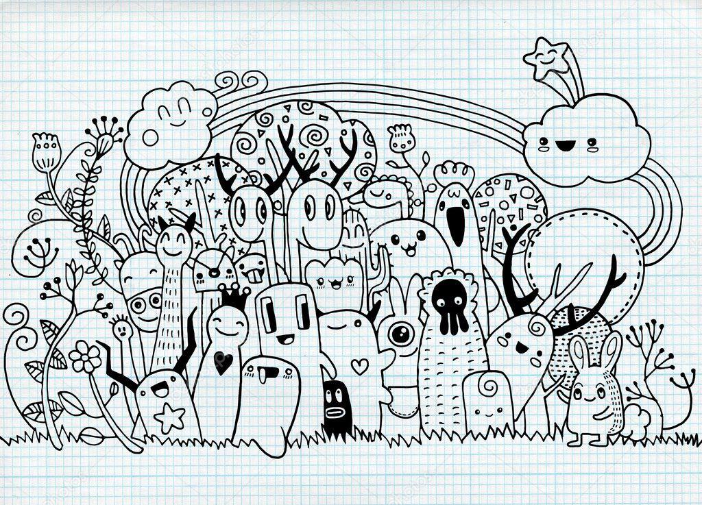 Hipster dibujado a mano loco doodle ciudad monstruo, dibujo estilo ...
