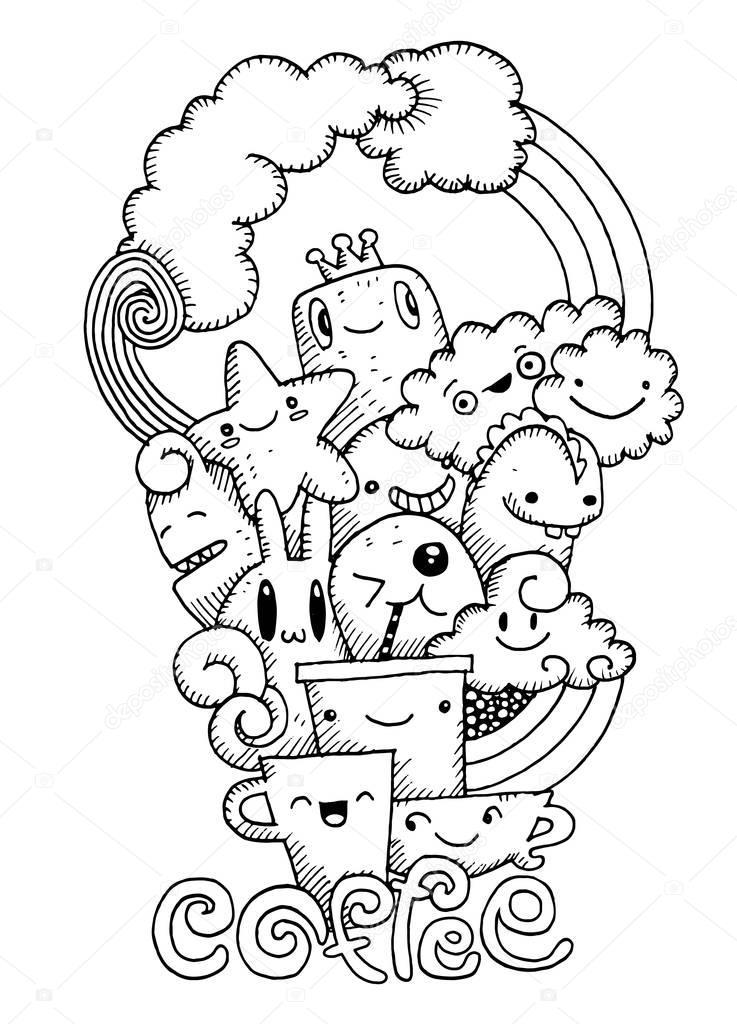 Café elaborado a mano, taza de café y monstruo de la historieta ...