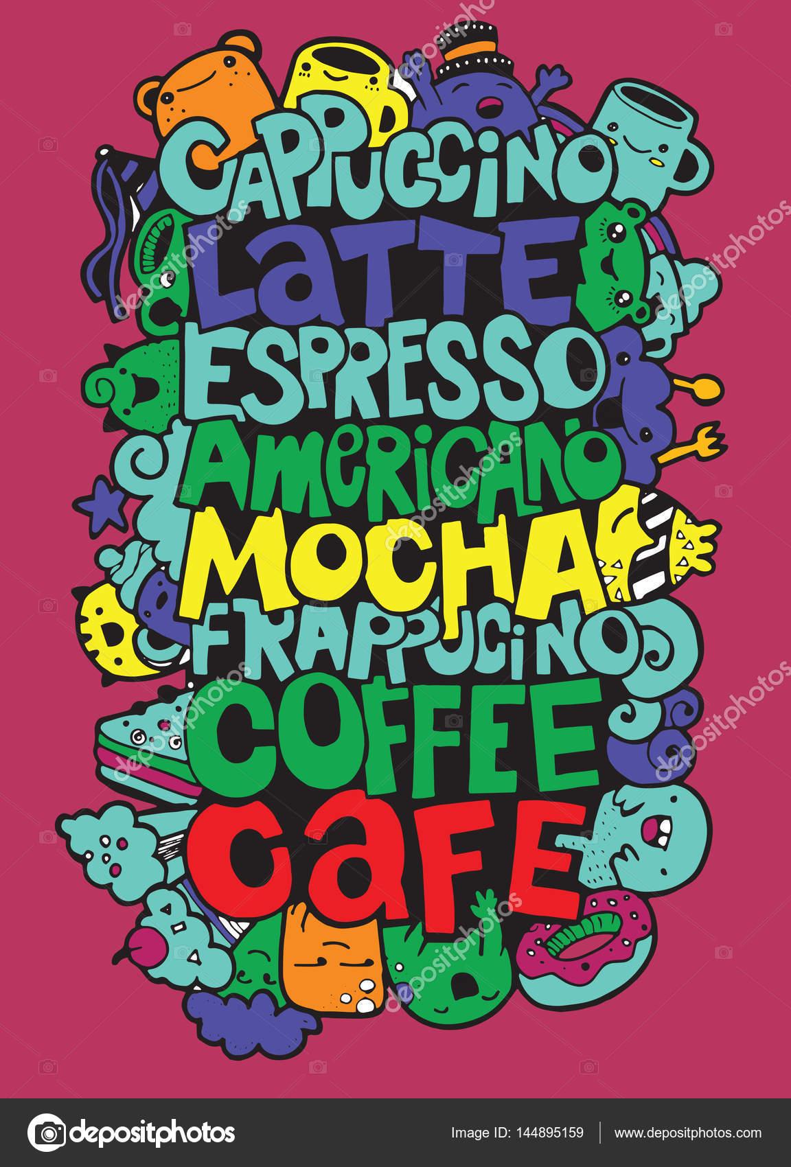 Handzeichnung Namen der beliebte Kaffeegetränke mit niedlichen ...