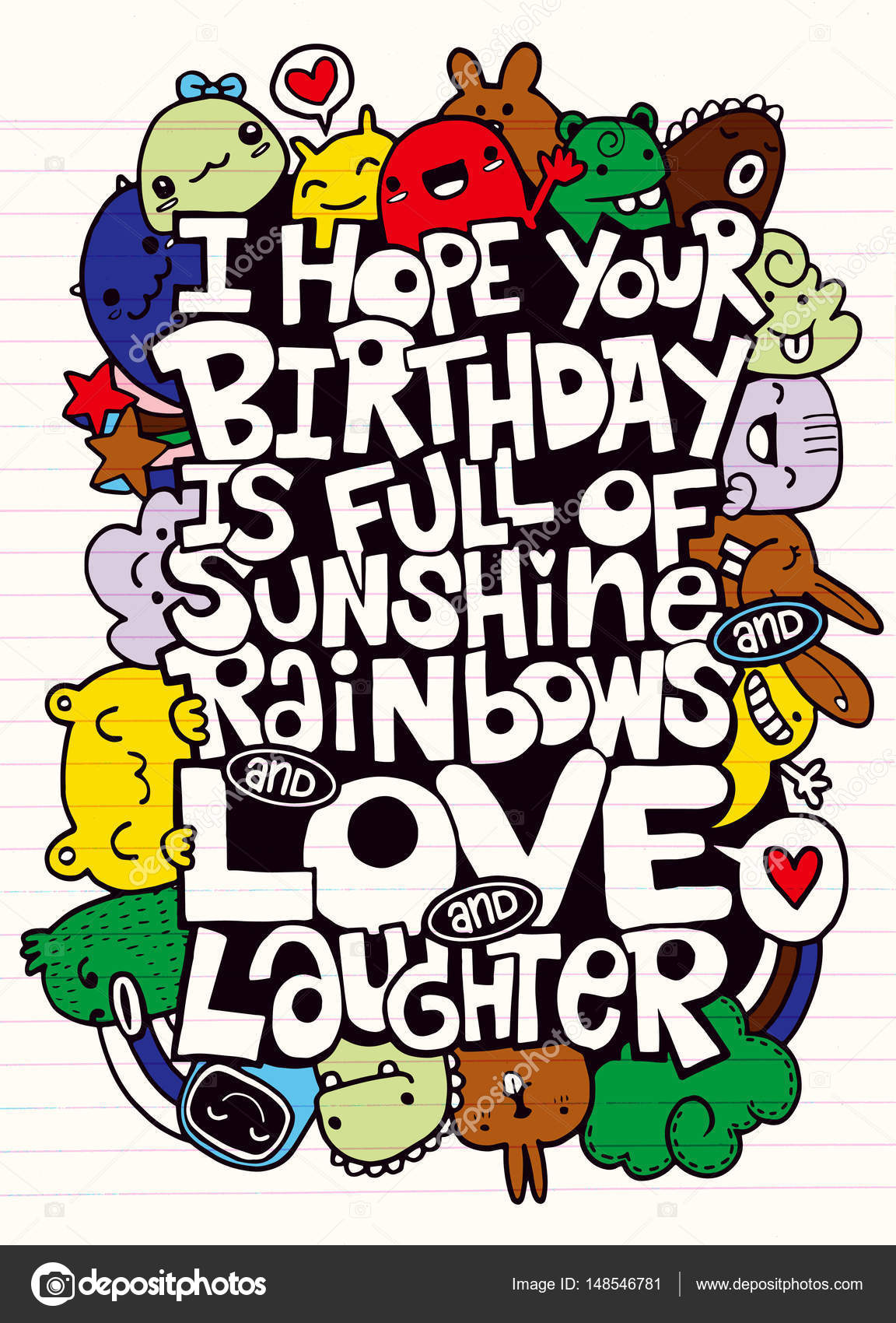 Vector illustration of doodle handwritten lettering happy birthday vector illustration of doodle handwritten lettering happy birthday greeting card monster doodle for m4hsunfo
