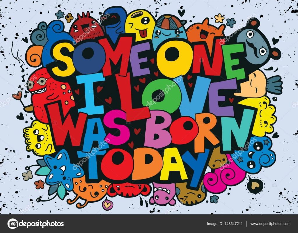 Happy Birthday Design Vector ~ Vector illustration of doodle handwritten lettering. happy birthday