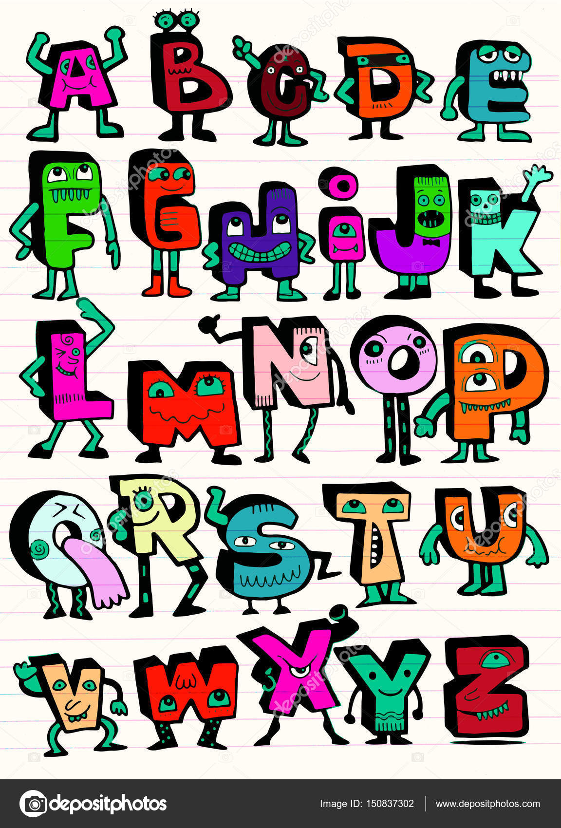 Hand drawn funny monster alphabet isolated letters doodle font hand drawn funny monster alphabet isolated letters doodle font stock vector thecheapjerseys