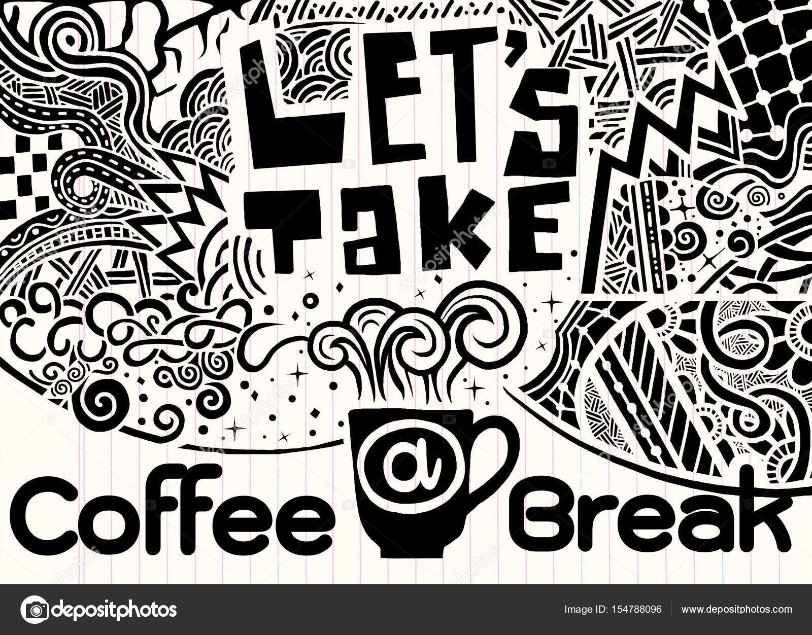 Lets Take A Coffee Break Lettering Coffee Quotes Hand Drawn V