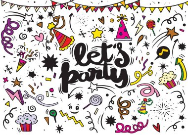 Vector illustration of Celebration party carnival festive icons