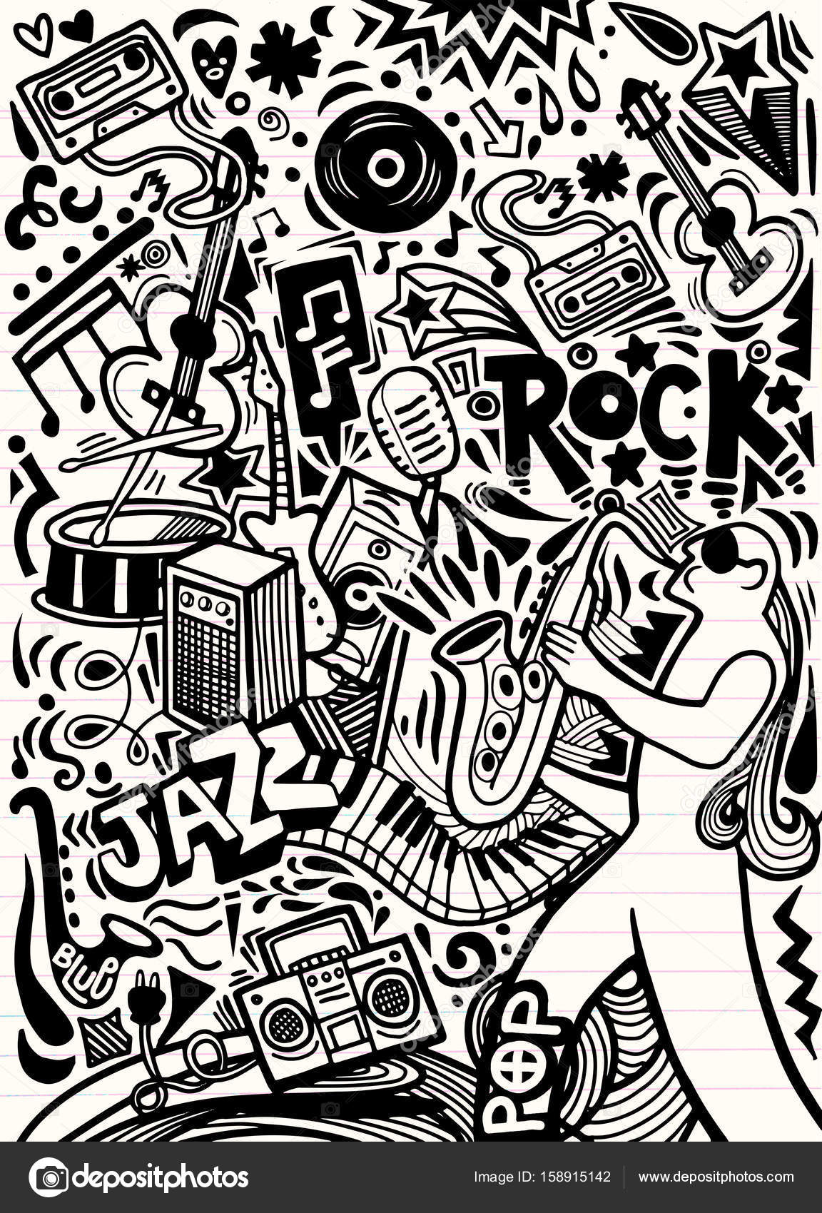 hand drawn doodles musical poster template abstract music backgr