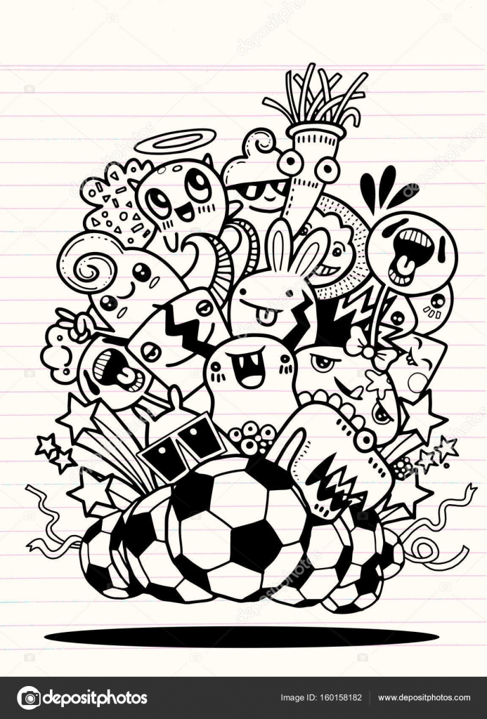 Hipster Hand drawn Crazy doodle Monster group Vector Illustratio