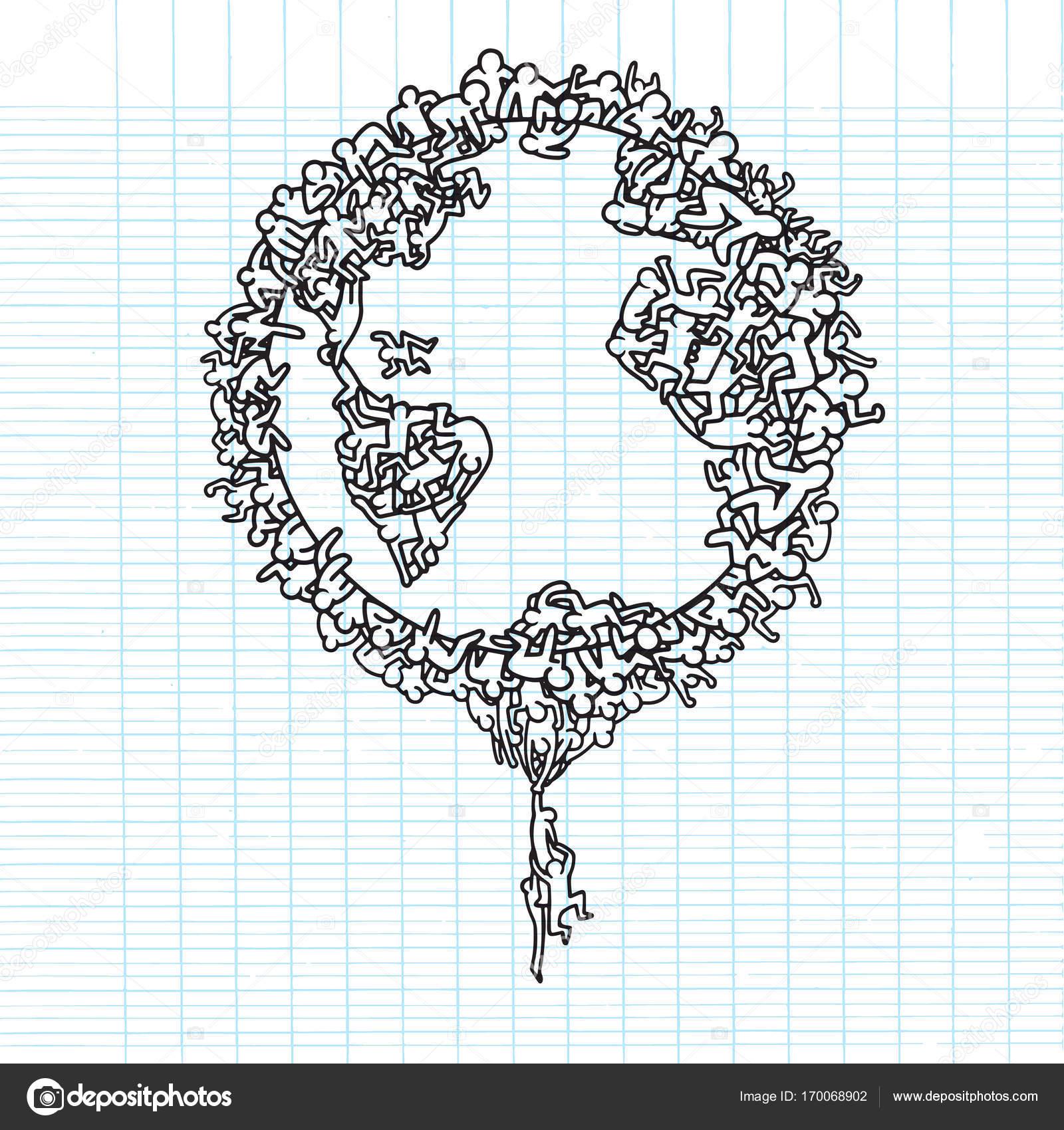 Rucne Kreslene Vektorove Ilustrace Zeme Sveta S Lidmi Illustrator