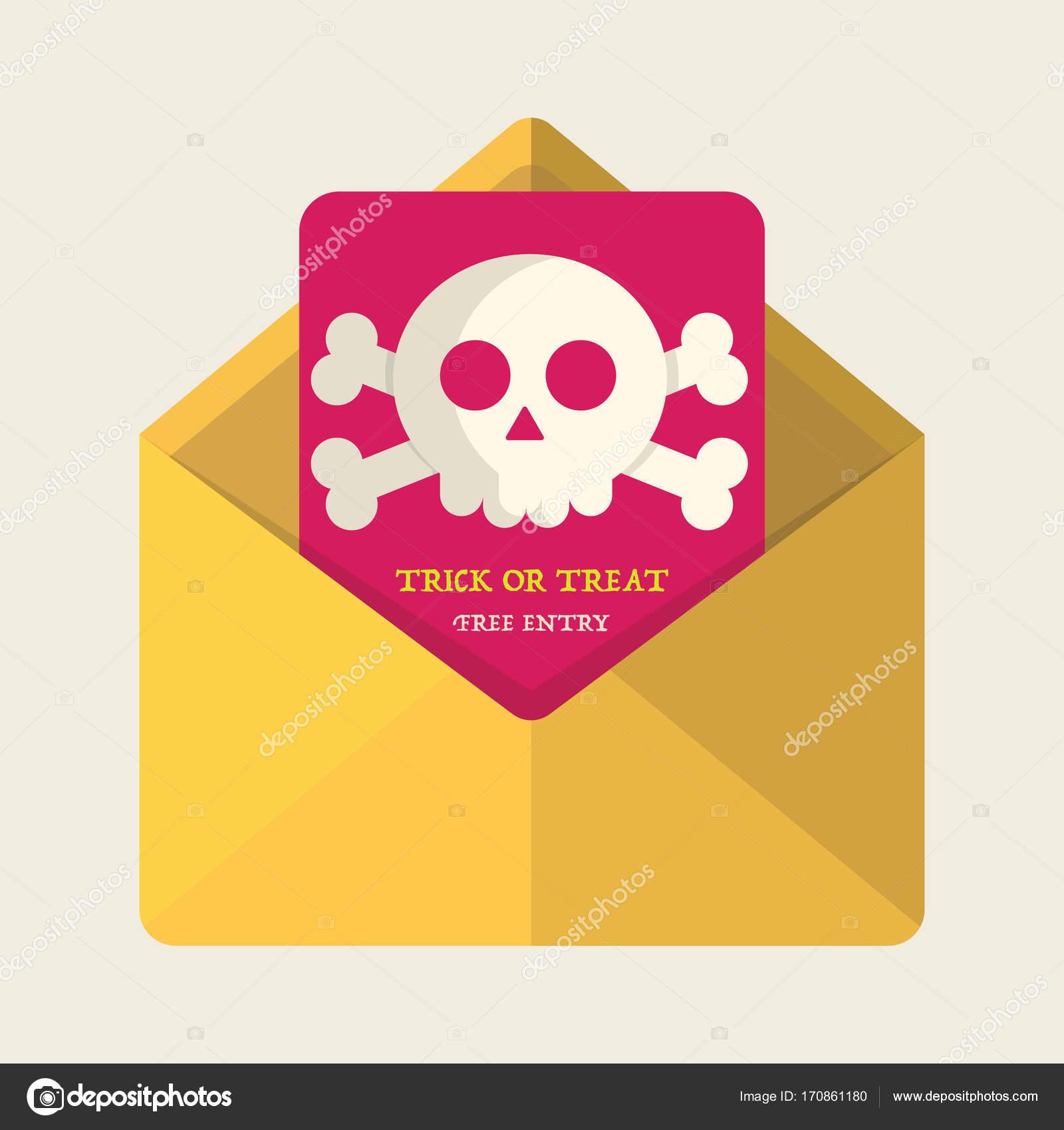 Vector Halloween Party Poster. cute skull,Invitation design for ...