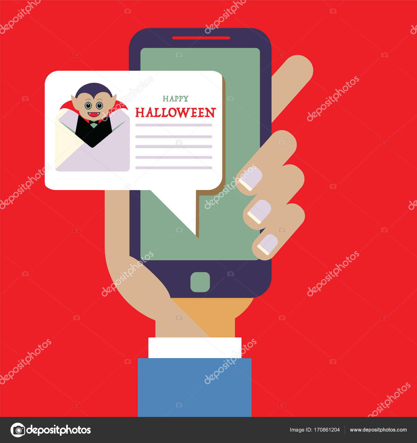 invitation design for Halloween party notification on smartphon ...