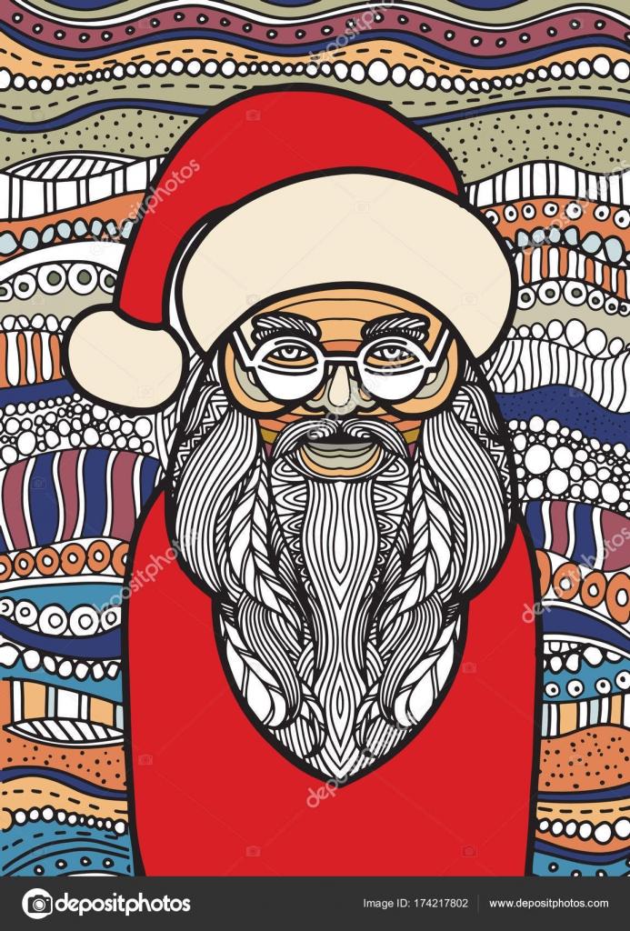 Coloriage Pere Noel Licorne.Dessin Pere Noel Zentangle Style Pour Coloriage Livre Tatouage S