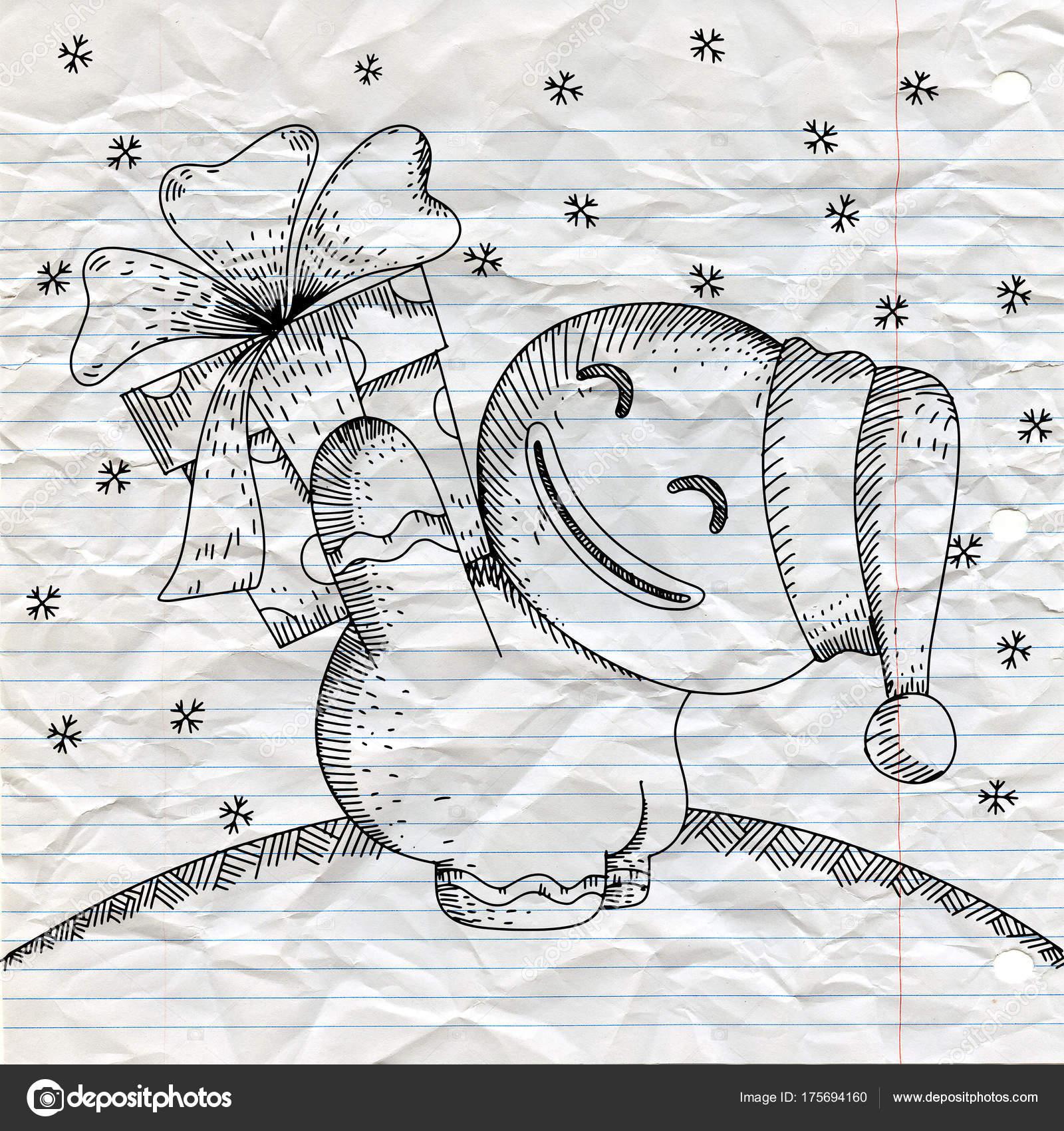 Die Hand Gezeichnete Skizze Süße Lebkuchen Mit Großen Schleife Bow