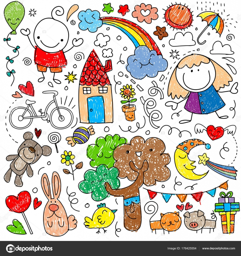 子供動物自然のかわいい子どもたちの絵のコレクション ストック
