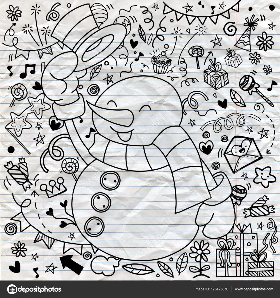 Carattere Del Pupazzo Di Neve Simpatico Cartone Animato