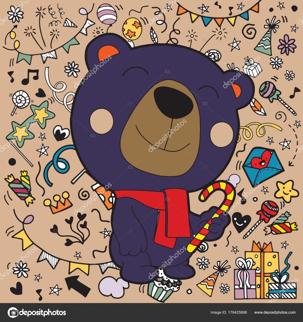 Weihnachtskarte von Eisbär mit Halstuch. Süße lustige Kawaii ...