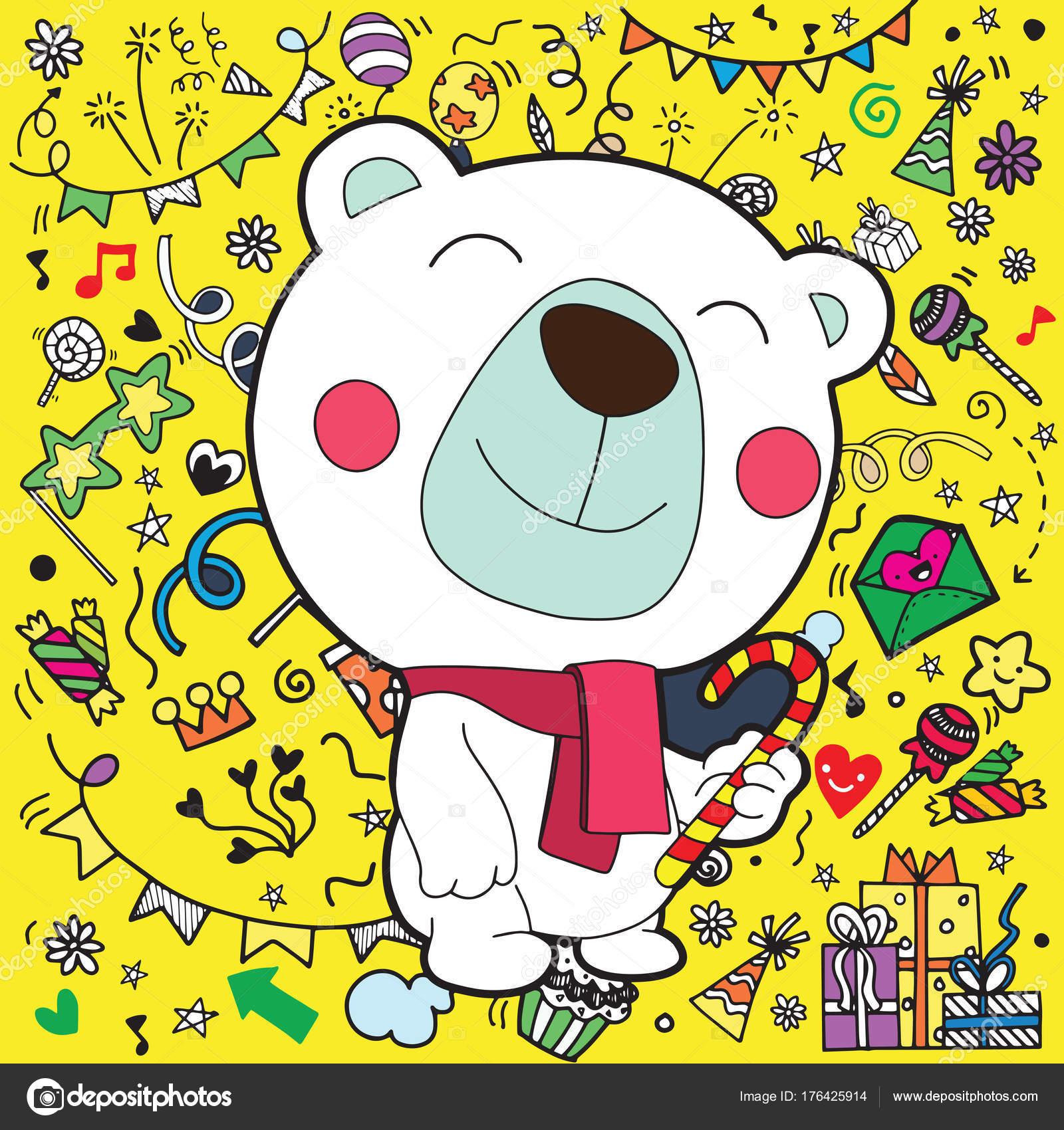 christmas card of polar bear with scarf cute cartoon