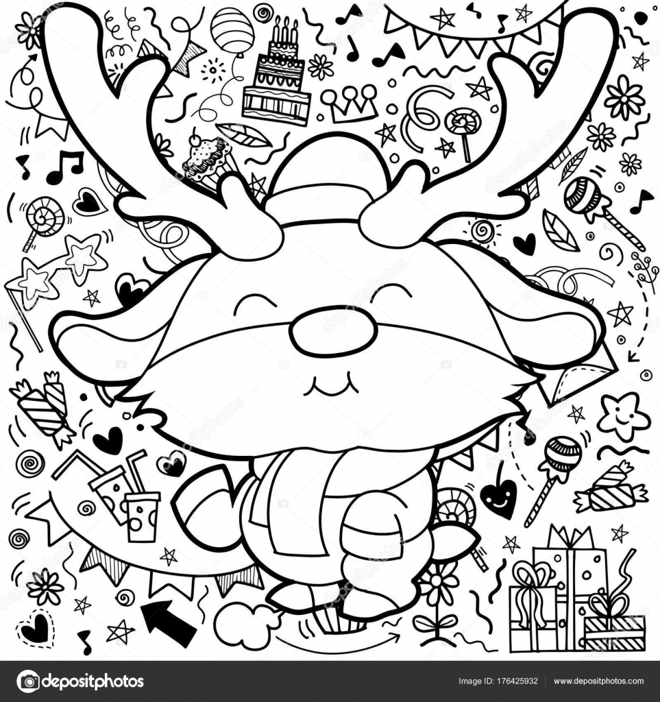 Cute Cartoon Funny Kawaii Character With Christmas Decorations Background Greeting CardMerry Happy New Year Pattern For Adult Coloring Book