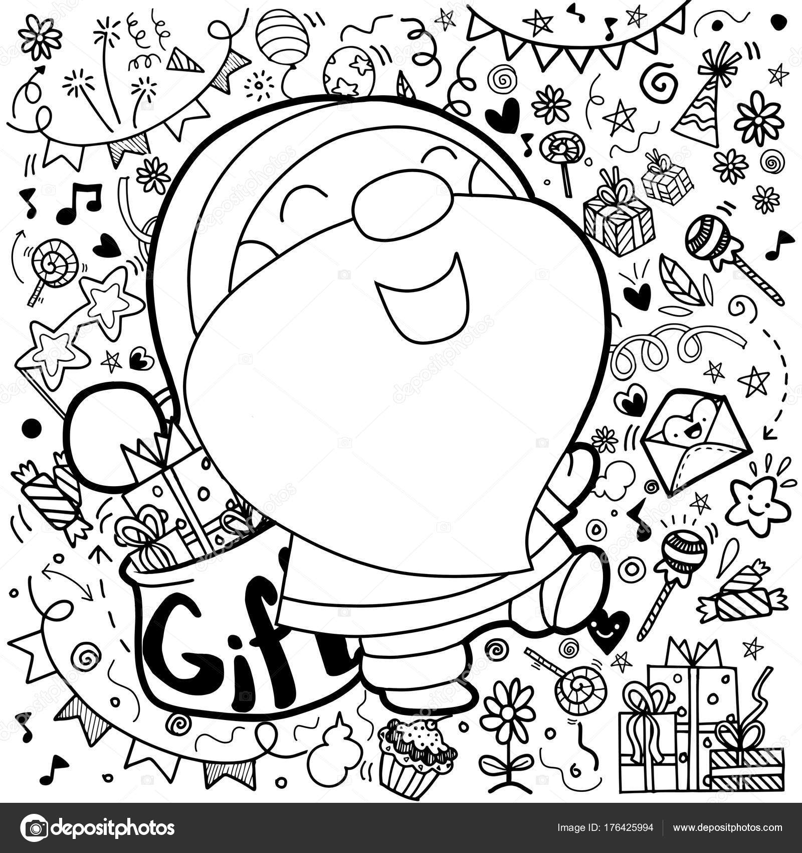 cute cartoon funny kawaii character with christmas decorations background greeting cardmerry christmas happy new year pattern for adult coloring book