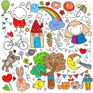 Collection of cute children's drawings of kids, animals, nature,