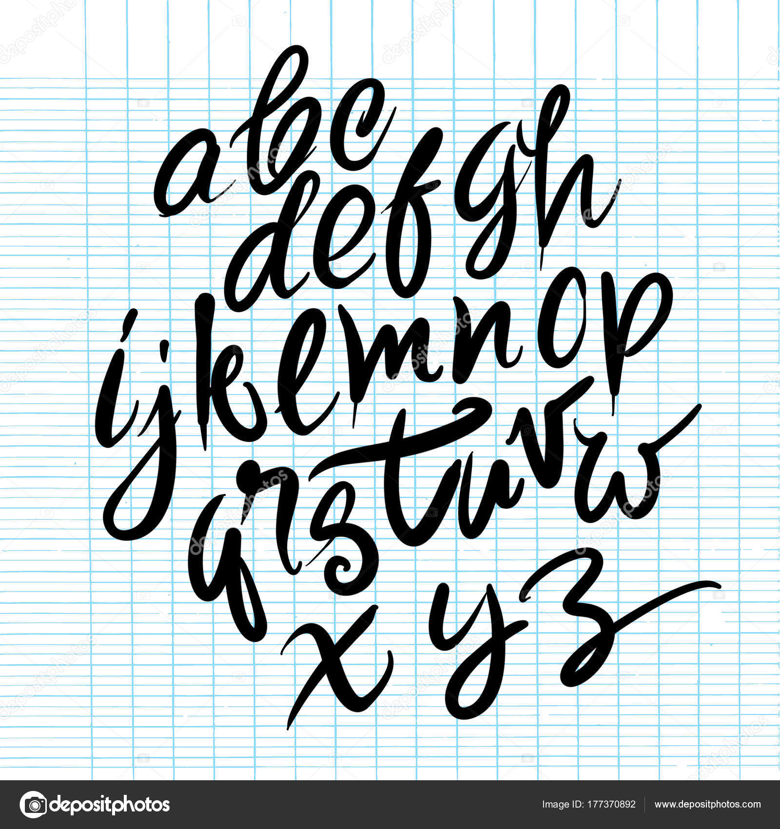 Font Brush Vintage Hand Drawn Alphabet Drawing With Stock Vector