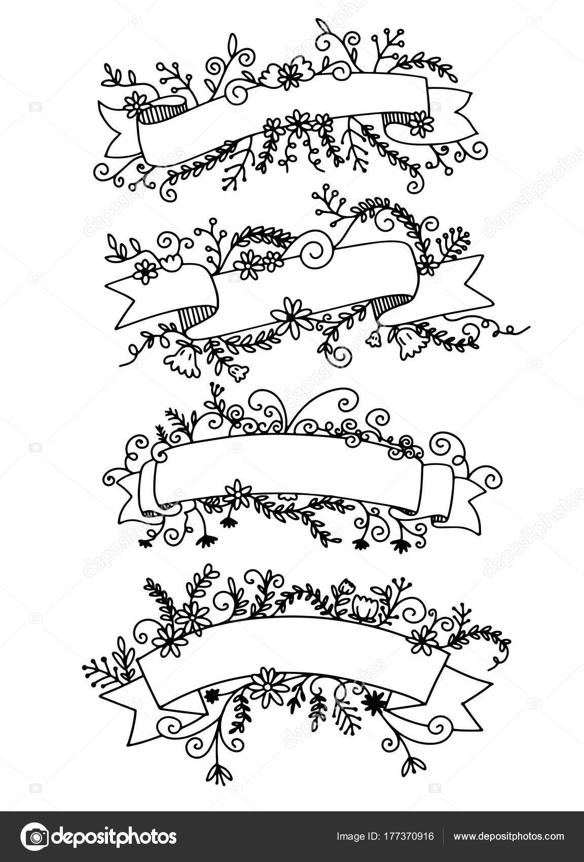 Sketched Rustic Decorative Banners Dividers Ribbons With Floral Swirls And Branches Vintage Outlined Vector Illustration By 9george