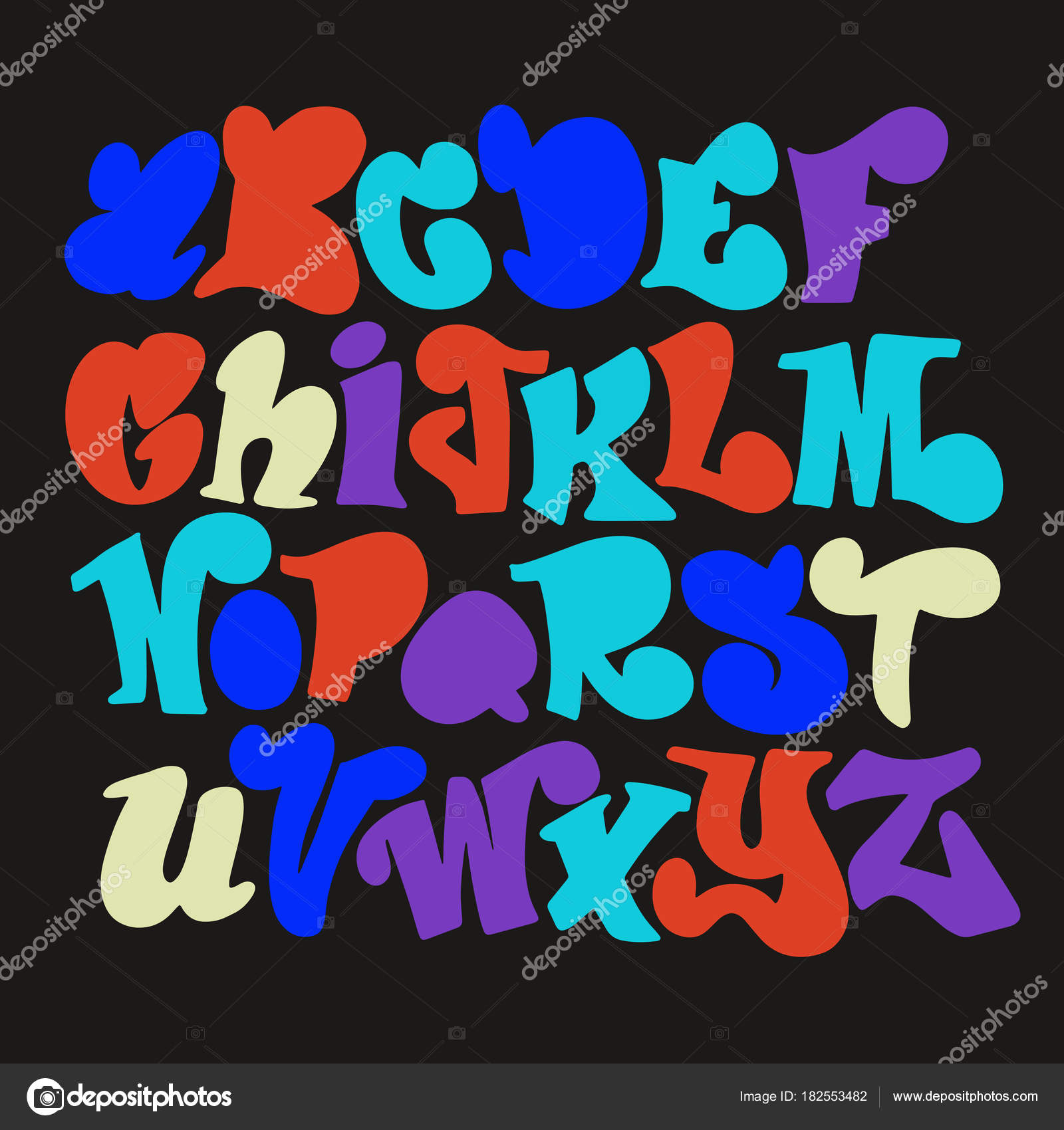 Vector Set Of Handwritten Fonts Abc Alphabet Letters  Stock Vector