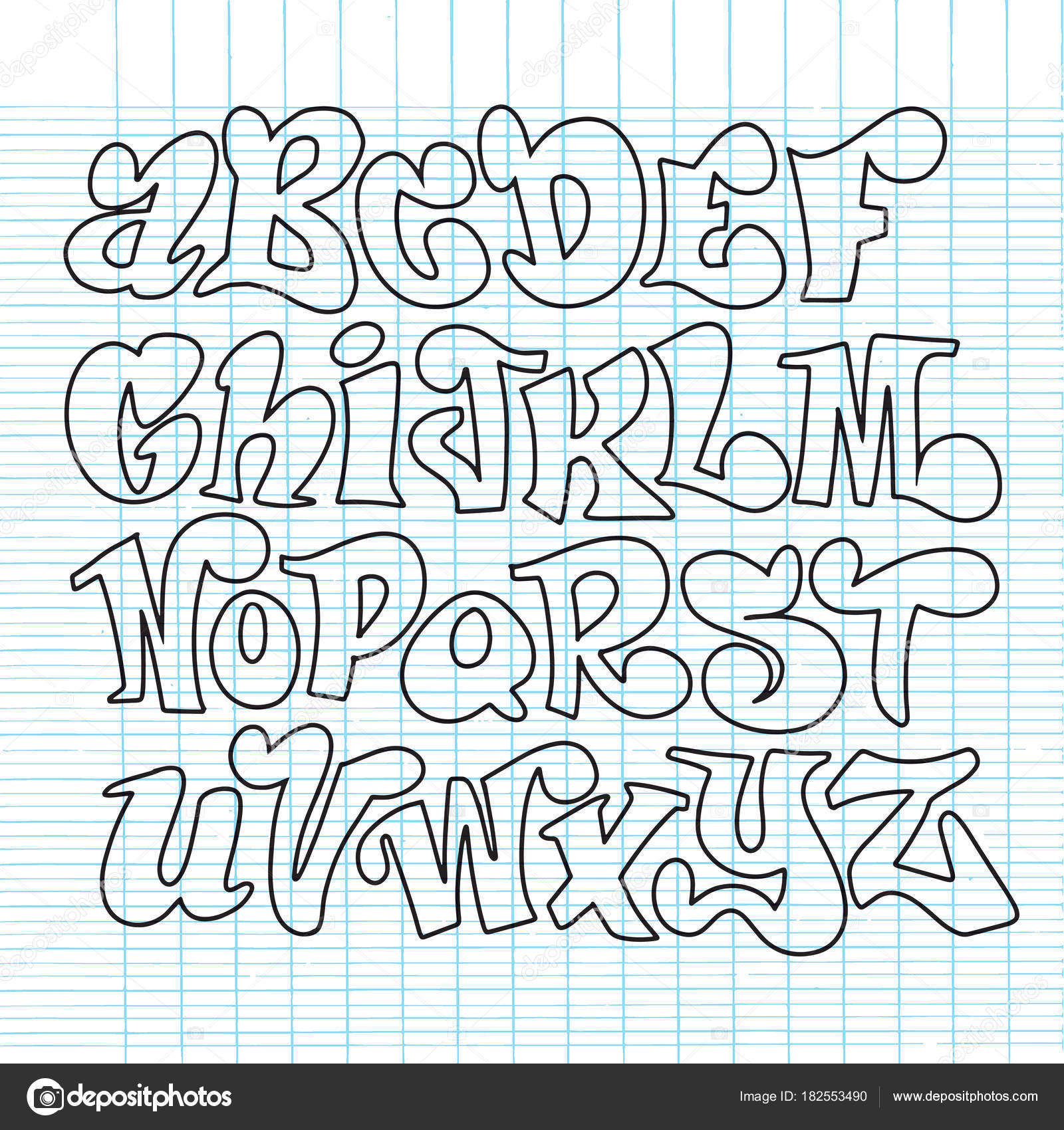 Vector Set Of Handwritten Fonts ABC Alphabet Letters Stock