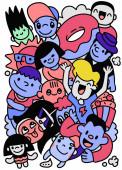 Veselé dítě kreslené kreslené doodle kolekce, ručně kreslený vektor ilustrace