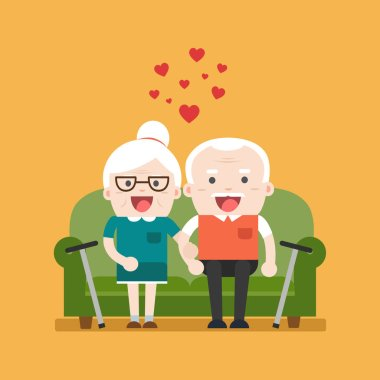 Retired elderly senior age couple in creative flat vector charac
