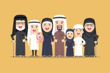 vector arab family, muslim people, saudi cartoon man and woman.