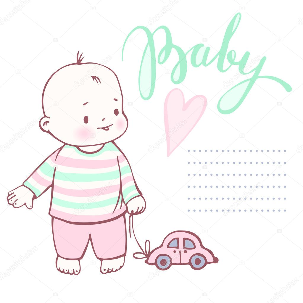 Cute Baby Boy With The Toy Car Stock Vector Tiff20 126984066