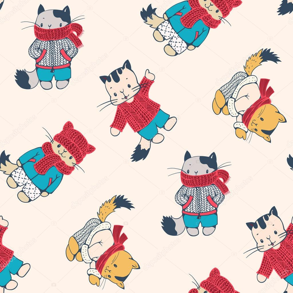 dibujos animados gatitas en ropa de punto — Archivo Imágenes ...