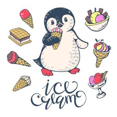 funny cartoon penguin with ice cream