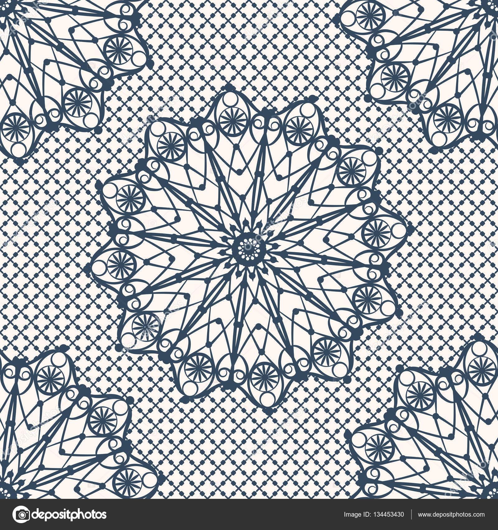 Dentelle Dessin dessin de dentelle avec cercles décoratifs — image vectorielle