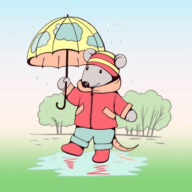 Mouse with an umbrella in the rain