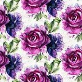 vzor fialové květy v akvarel