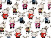 Fotografie pattern with funny cartoon Bunnies.